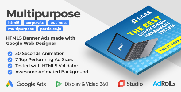 SAAS - Multipurpose Animated HTML5 Banner Ad Templates (GWD