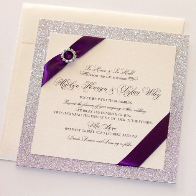 Marilyn Wedding Invitation Ivory Deep Purple And Silver