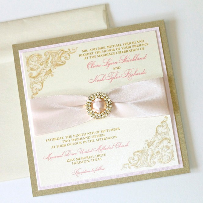 Olivia Vintage Wedding Invitation Ivory Blush And Gold