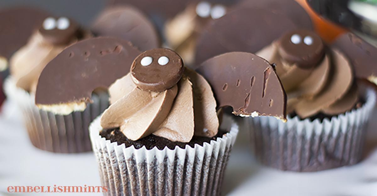 Halloween Bat Cupcakes Embellishmints