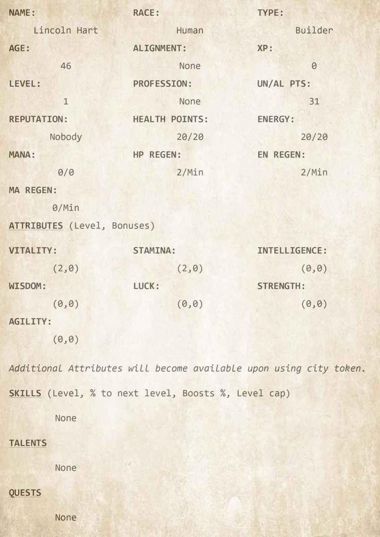 Chapter 2 - Character Sheet 1