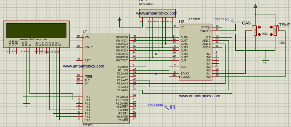 adc0808 interface with 8051