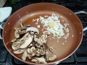 mushrooms, onion and garlic