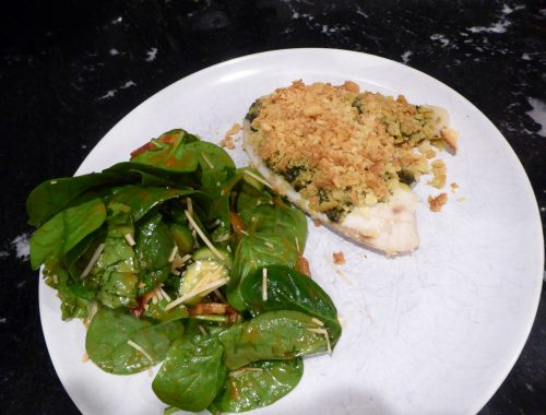 butter parmesan crusted tilapia with pesto sauce