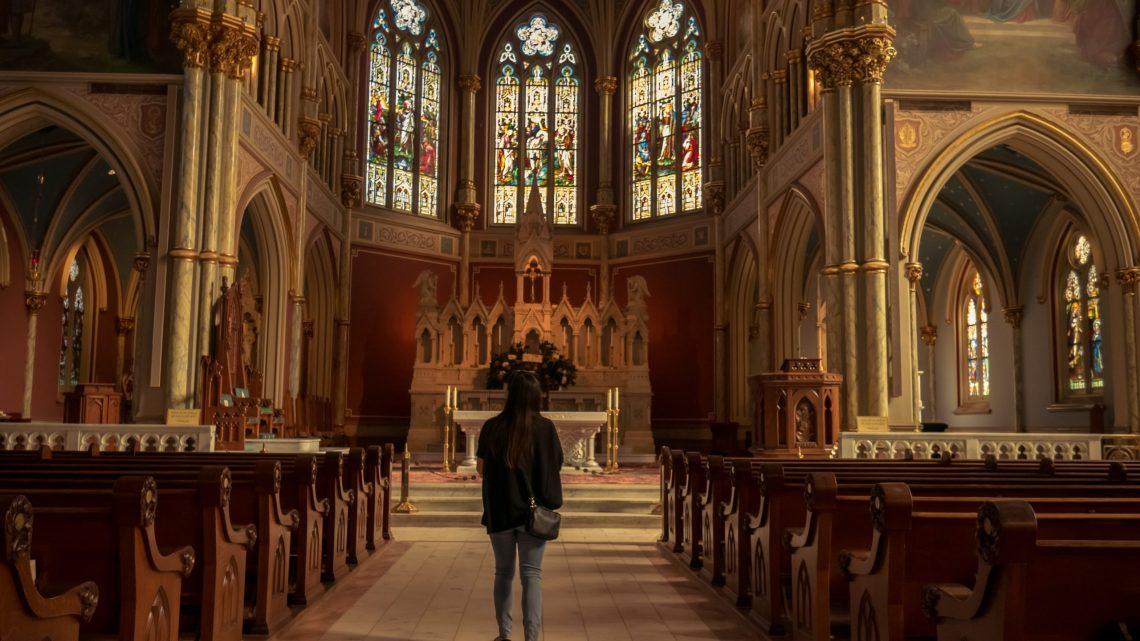 woman in an empty church