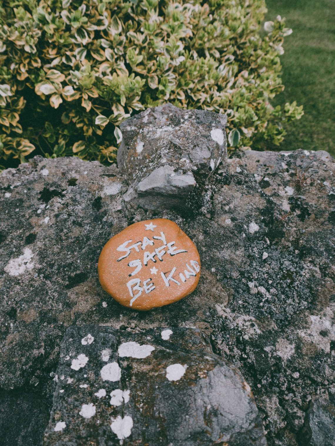 rock with words on ground
