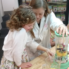 Ella was making her own smoothie recipe with one of the lovely innocent mixologists.