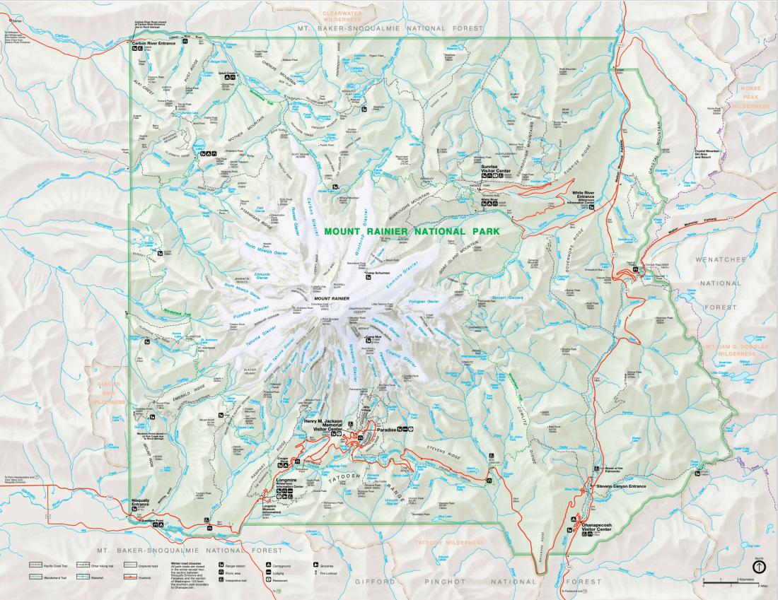 Mt. Rainier National Park entrances Mt. Rainier National Park map regions