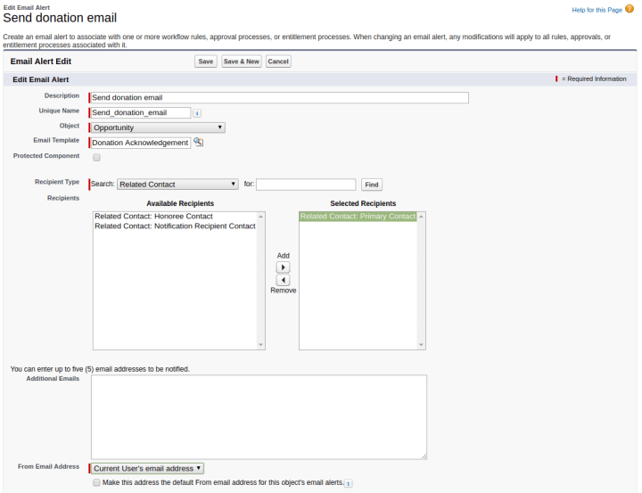 revamping the npsp email acknowledgement workflow rule to allow for