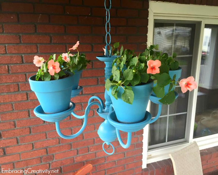 Painted chandelier planter - Tropical Oasis