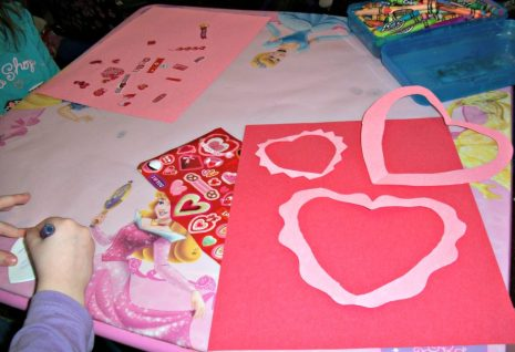 construction paper hearts for Valentine's Day
