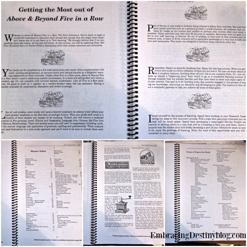 Above & Beyond Five in a Row unit study manual