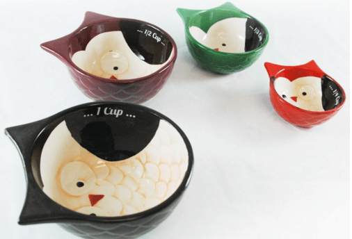 Ceramic Hand Painted Owl Measuring Cups