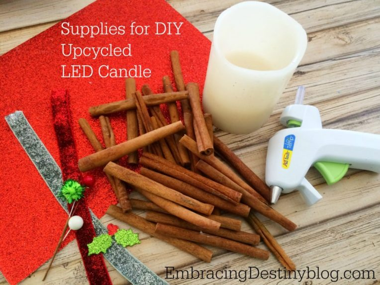 DIY Upcycled Cinnamon Christmas Battery Operated Candle ~ supplies