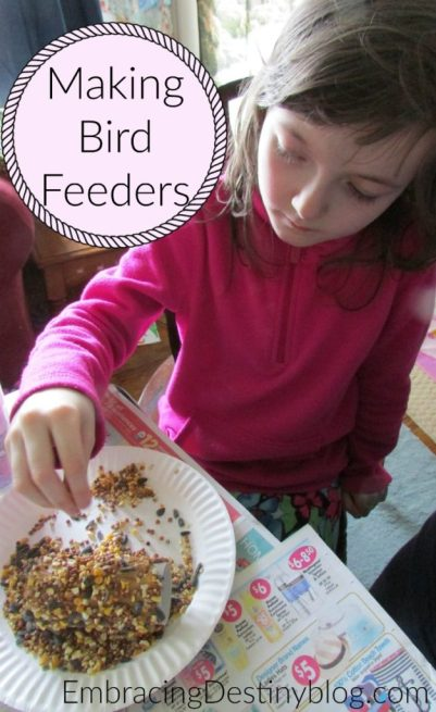 Making bird feeders with Christian Kids Explore Biology