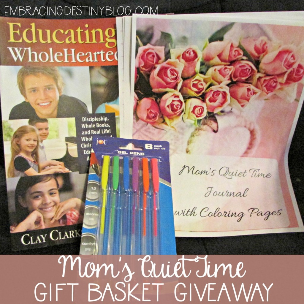 Win this Mom's Quiet Time Gift Basket Giveaway. Perfect for homeschool moms!