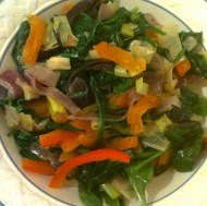 Sautéed spinach, leeks, red onions and peppers with dried apricots