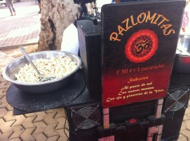 "Pazlomitas: a play on words, roughly translating to ""peace popcorn,"" found at a farmer's market in la Alameda de Hércules"