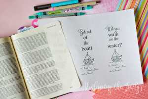 Free Bible Journaling Template- Bible Journaling Printables- Peter Walks on the Water