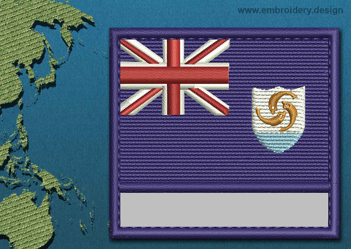 Anguilla Customizable Text Flag Embroidery Design With A
