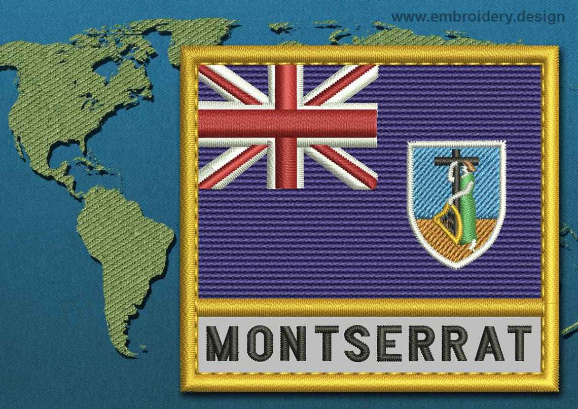 Download Montserrat Text Flag Embroidery design with a Gold Border