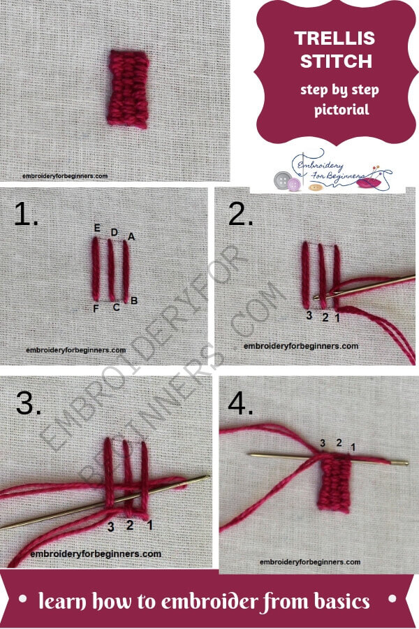how to make a woven trellis stitch