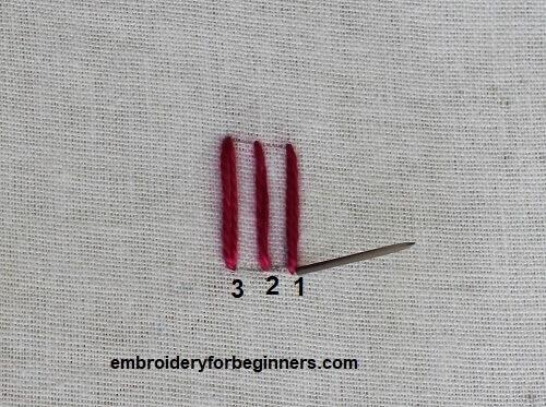 inserting needle through the fabric