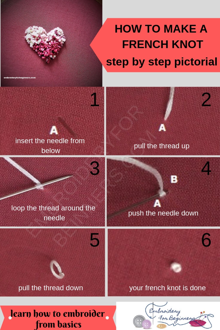 learn how to make a french knot with step by step photos