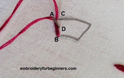 working on the long and short stitch