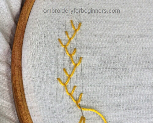 completing the double feather stitch