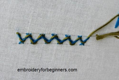 completing the threaded herringbone stitch