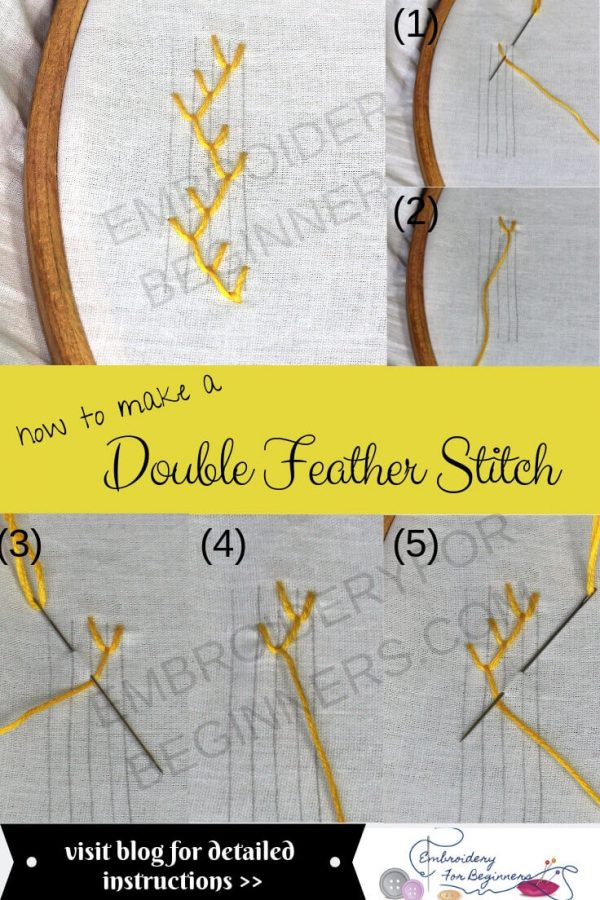 how to make a double feather stitch with step by step picutes