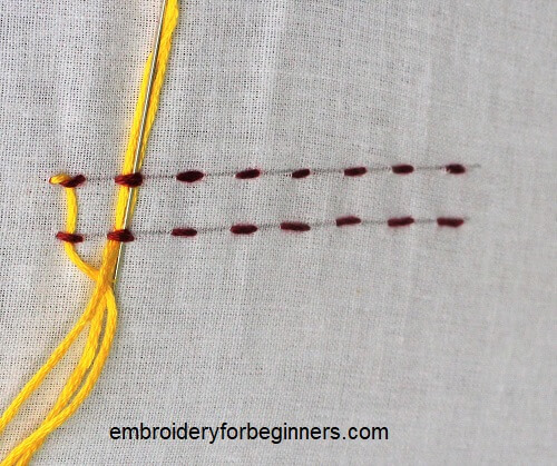 lacing the parallel stitch