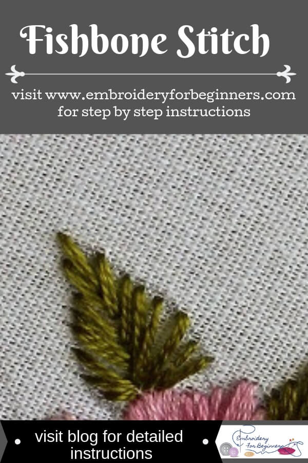 learn how to work a fishbone stitch with step by step pictures on the blog