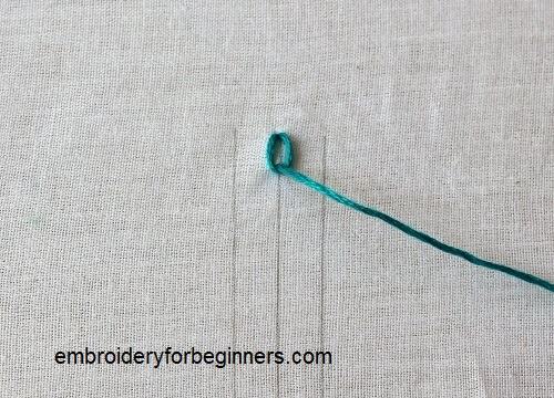 making the first chain stitch