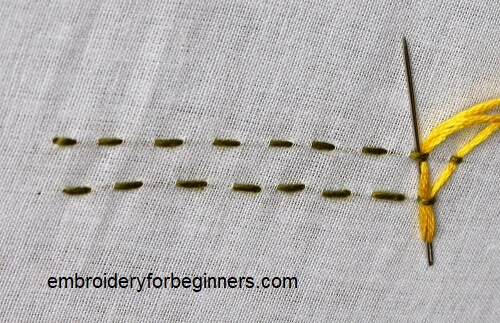 needle with yellow thread in running stitch