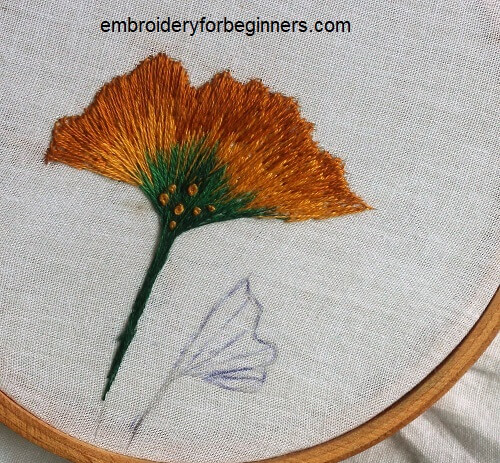 embroidering ginkgo leaves