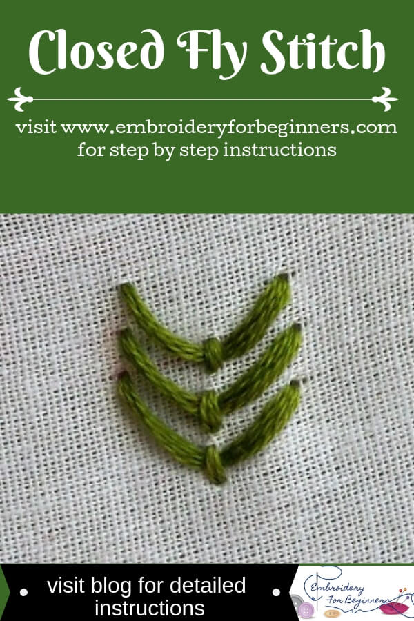 visit blog for detailed instructions for working the closed fly stitch