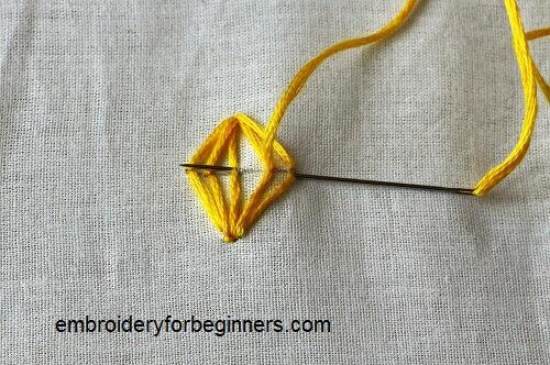 working on back stitch for the lantern stitch