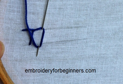 working on the buttonhole stitch