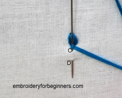 working on the cable chain stitch