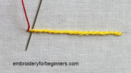 starting whipped stem stitch