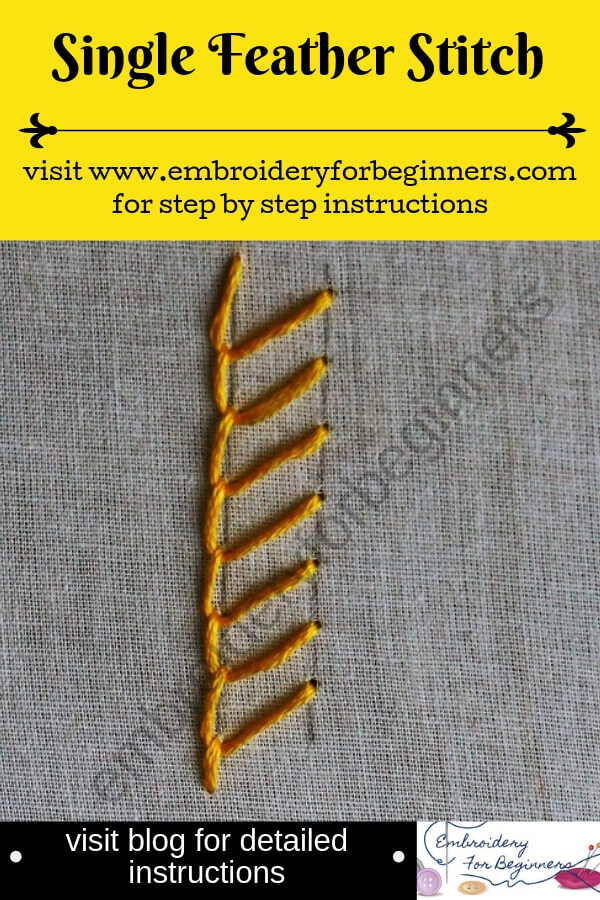 visit blog for detailed instructions for working the single feather stitch