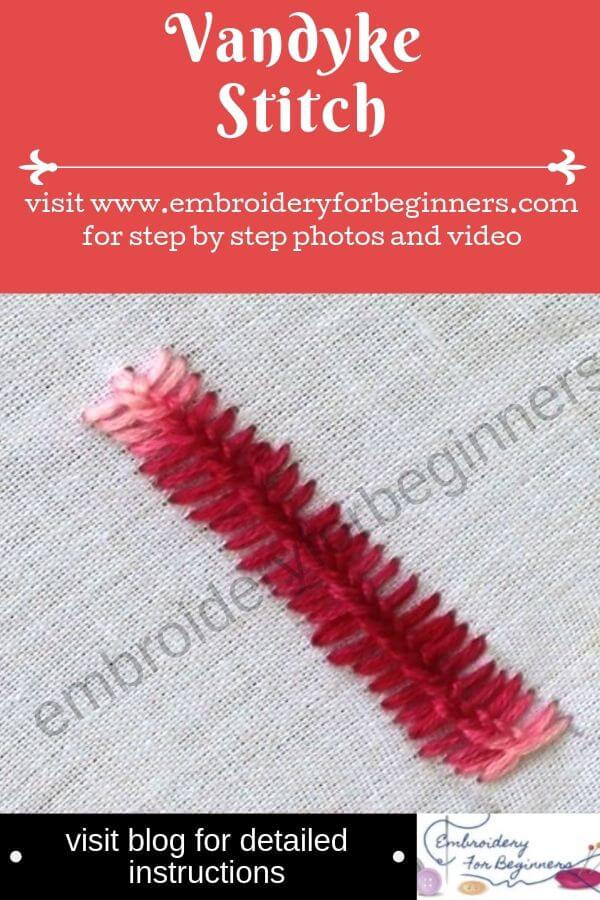 visit blog for detailed instructions for learning the vandyke stitch