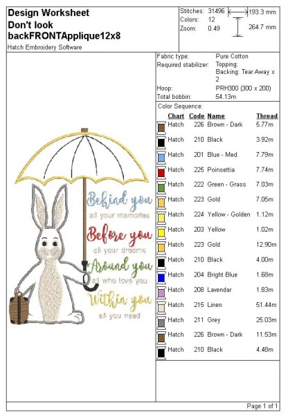 bunny and quote applique