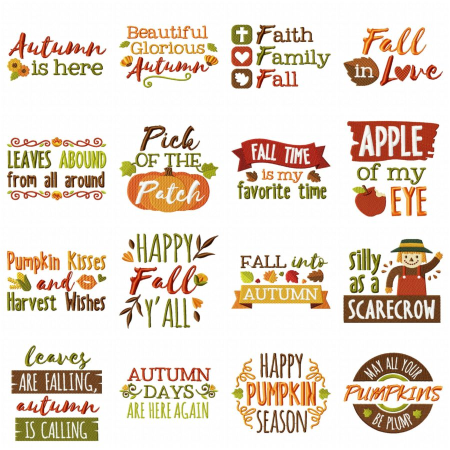 Country Autumn Sayings Embroidery Pack 17 Designs Included