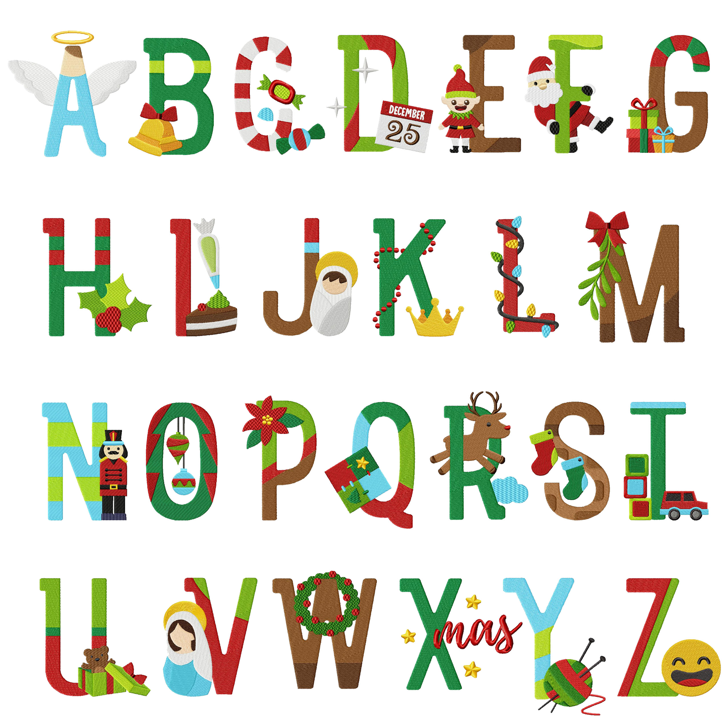 26 Christmas Alphabet Holiday Pack Embroidery Super Deal