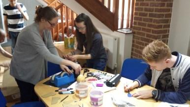 Kathryn, Emma & Jordan making Mr Turnip Head