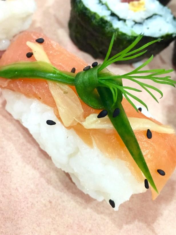 Salmon nigiri with dill, cucumber & ginger