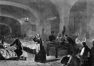 """A picture of Florence Nightingale (1820-1910), """"The Lady with the lamp"""", the English nurse, famous for her work during the Crimean War, is seen here in the hospital at Scutari, Turkey."""